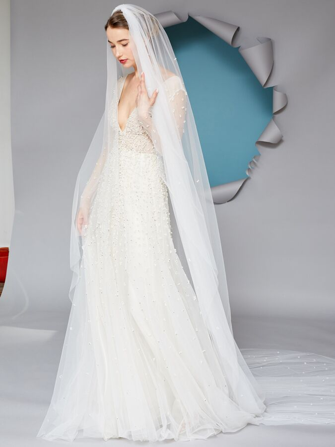 Gracy Accad A-line wedding dress with pearls and crystals