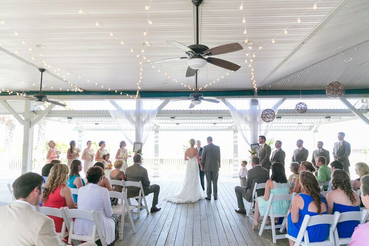 The ceremony was held under a pavilion at the Omni Hilton Head Resort, facing the ocean.