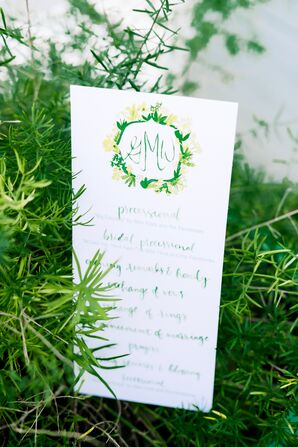 Whimsical Sign with Monogram and Green Calligraphy