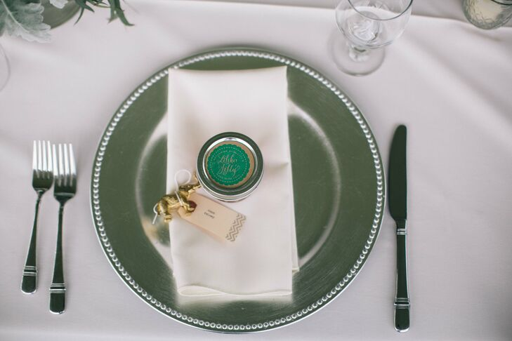 The couple's table settings were simple, apart from the metallic, silver chargers.