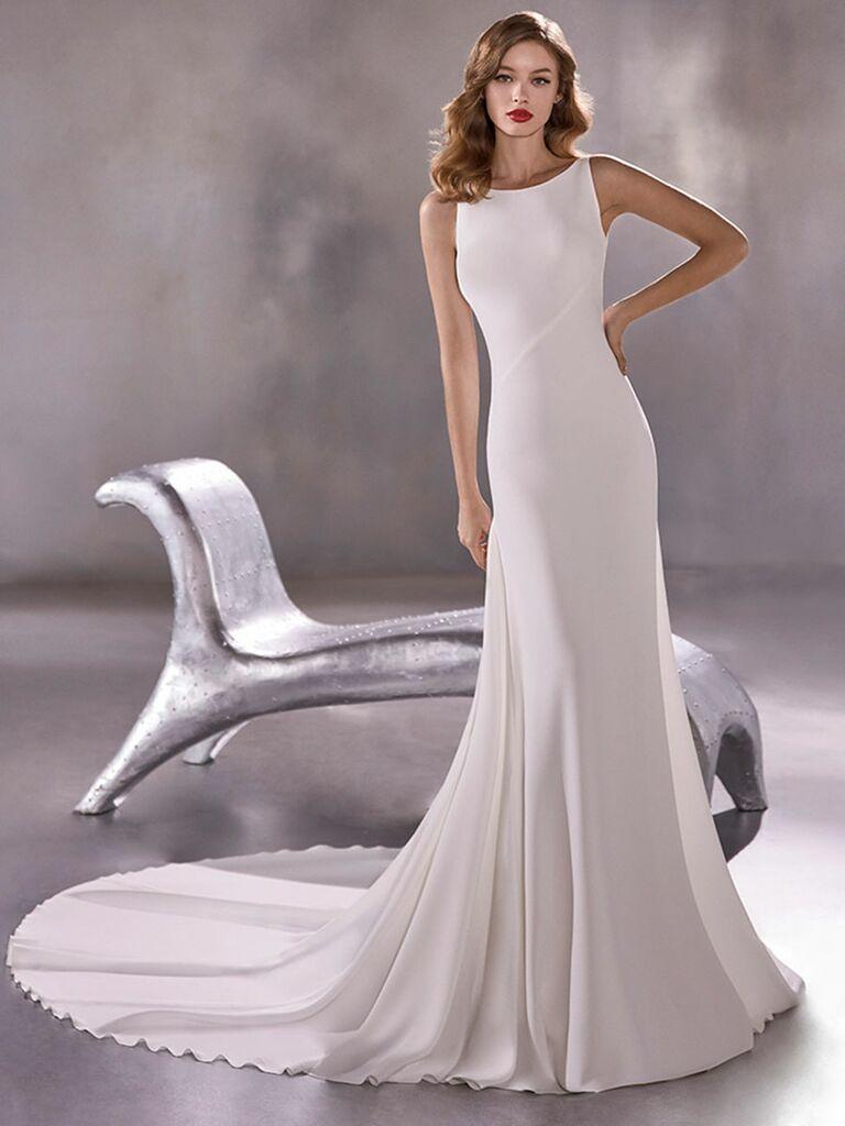 Atelier Provonias wedding dress sheath dress with low back