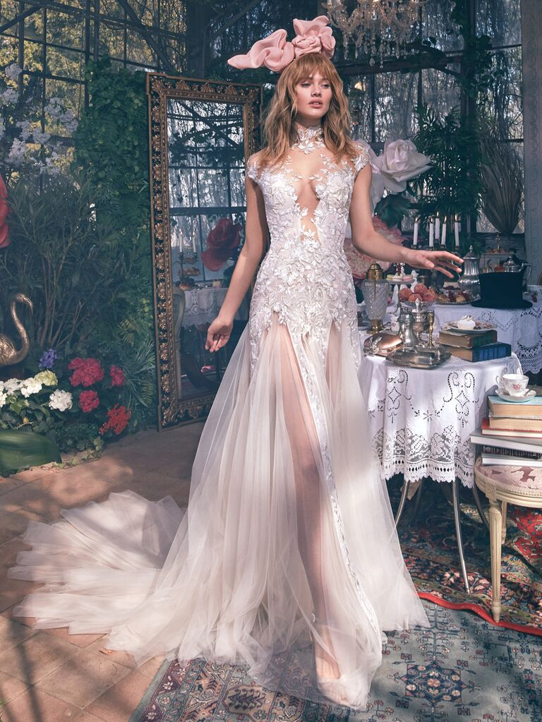 GALA by Galia Lahav Spring 2020 Bridal Collection sheer lace paneled wedding dress