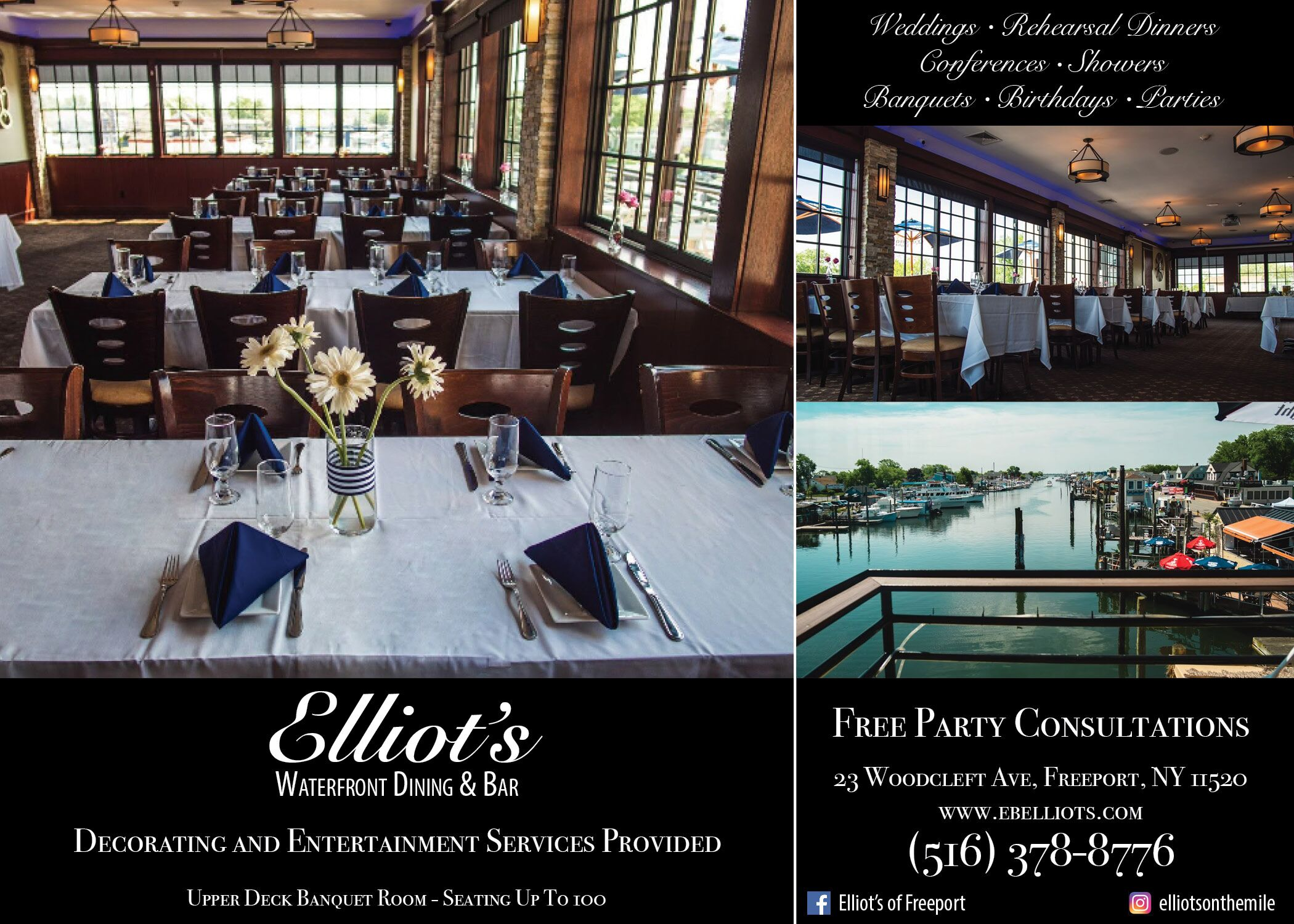 Beau ELLIOTu0027S Waterfront Dining U0026 Bar | Rehearsal Dinners, Bridal Showers +  Parties   Freeport, NY