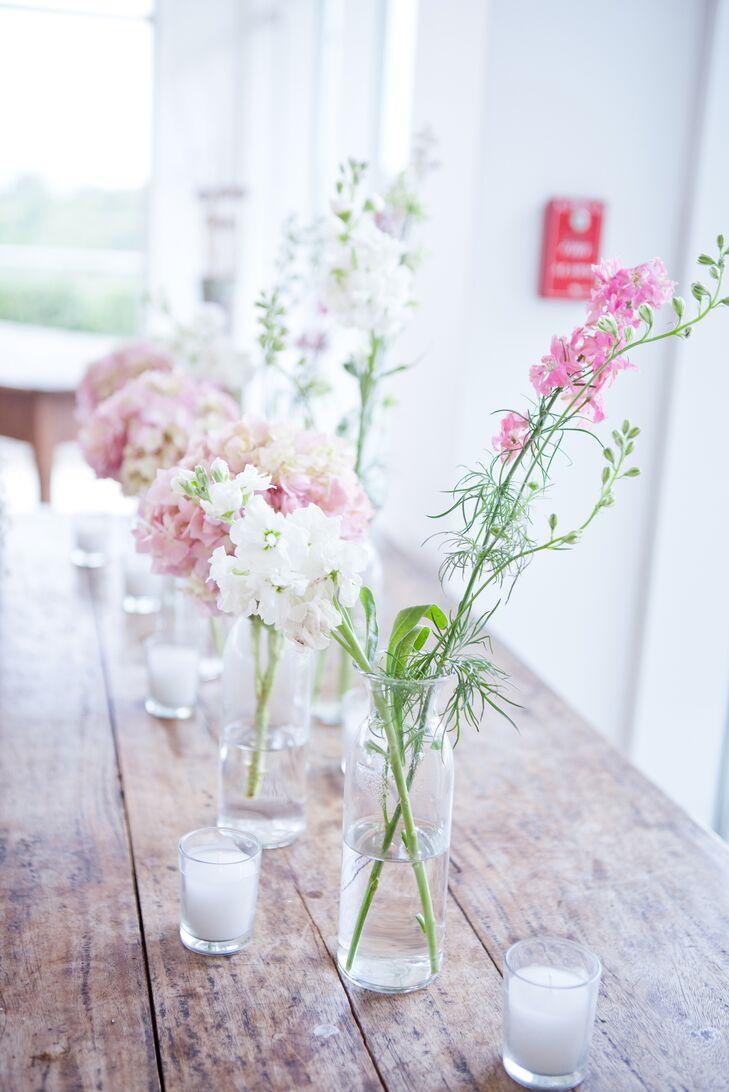 Simple Delphinium Centerpieces in Bulb Vases