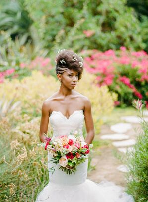 Bride with Baby's Breath Hair Accessories, White Mermaid Gown and Bright Bouquet