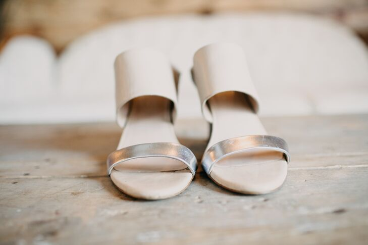 Nude and Silver Wedges
