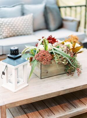 Hydrangea and Fall Foliage Cocktail Table Centerpieces