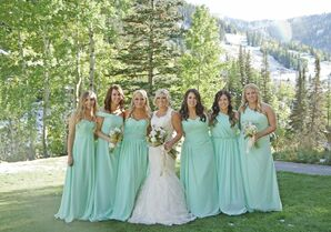 Long Mint Bridesmaid Dresses