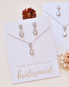Dareth Colburn Georgia CZ Bridesmaid Jewelry Set (JS-1674-BR) Wedding Necklace photo