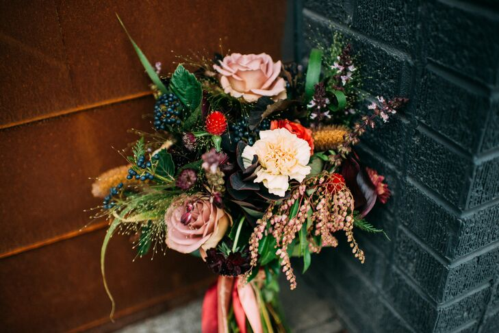 Textural Fall Bouquet of Roses, Carnations and Berries