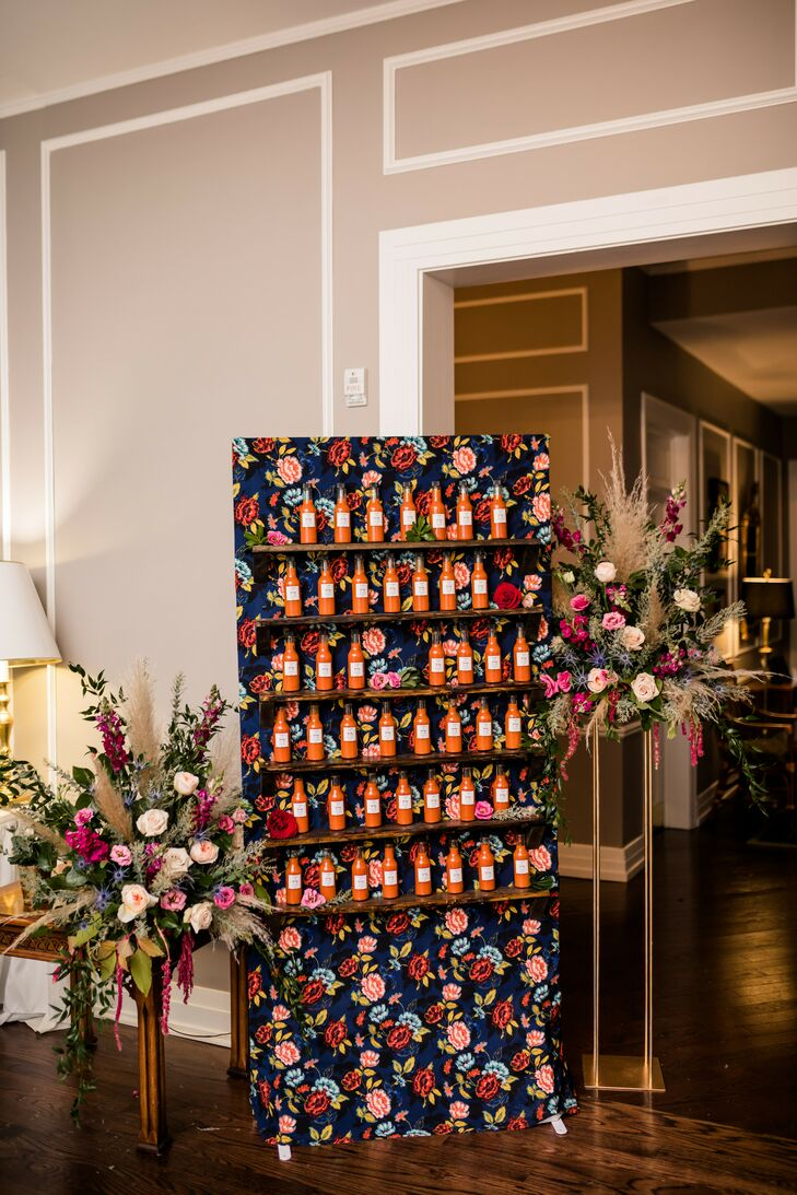 Hot Sauce Wedding Favor Display at Toledo Country Club in Ohio