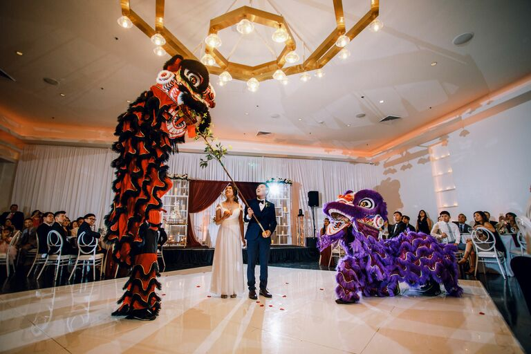 Lion dancers at Vietnamese wedding reception