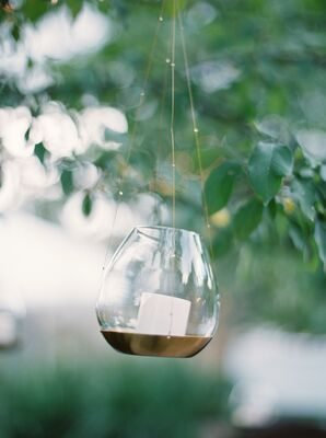 Small Tealights Hanging From Trees