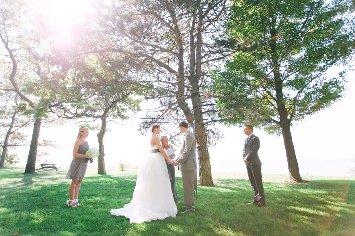 "Madison and Edward exchanged their vows on a bluff overlooking Lake Michigan. During the ceremony, Madison's Uncle Rob played ""Blackbird"" by the Beatles."