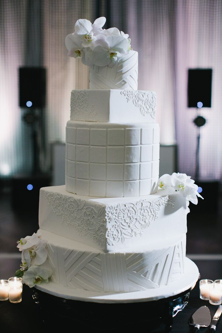 Tiered Wedding Cake with Square and Round Layers