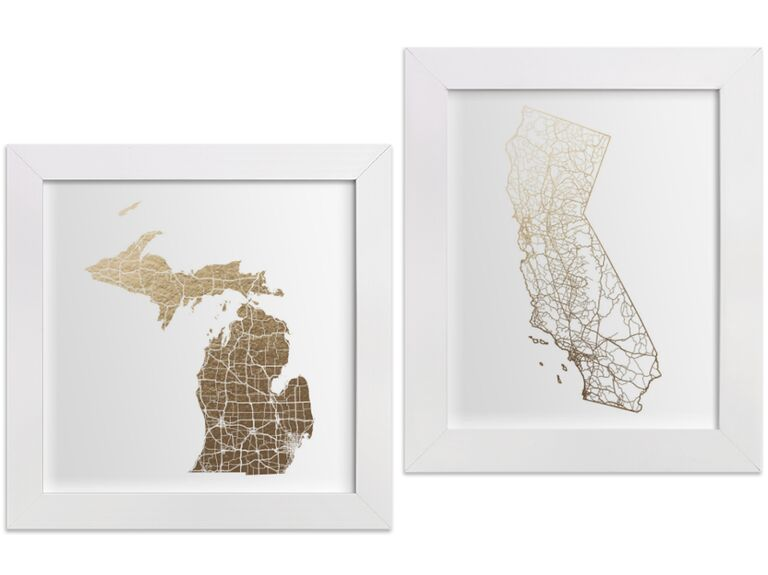 Foil-pressed map art from Minted