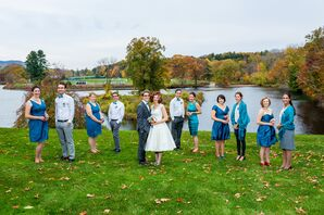 Casual Gray and Blue Wedding Party