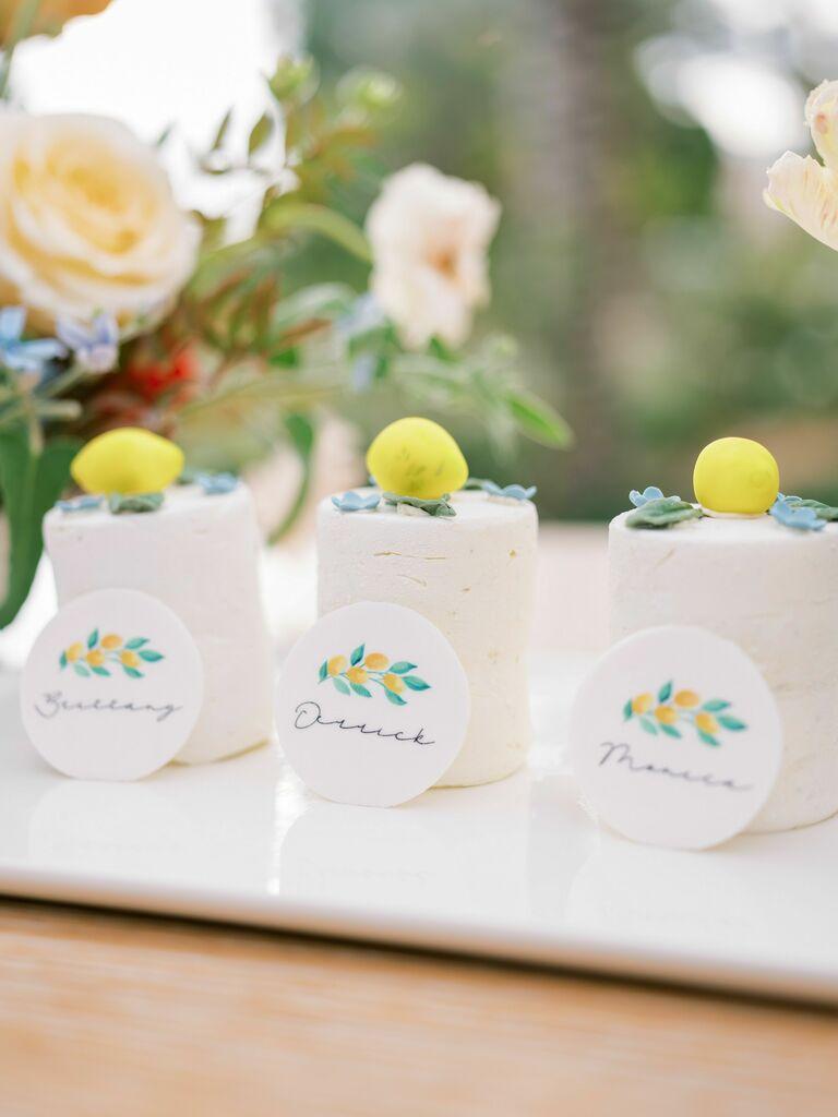 Trio of mini cakes with lemon decorations