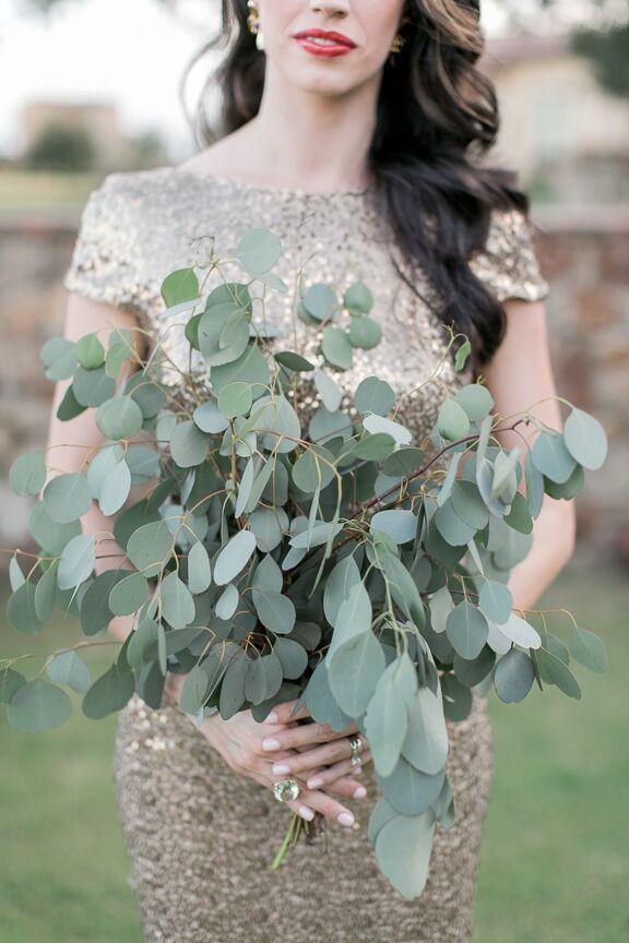 Large Silver Dollar Eucalyptus Bridesmaid Bouquet