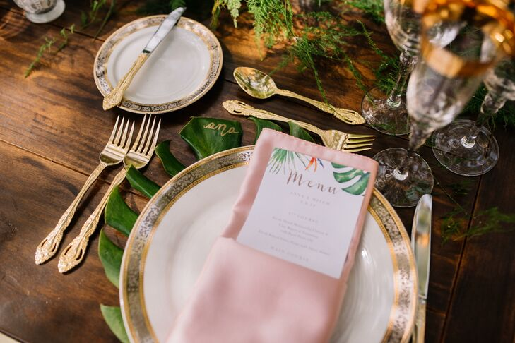 Tropical Place Setting on Wood Dining Table