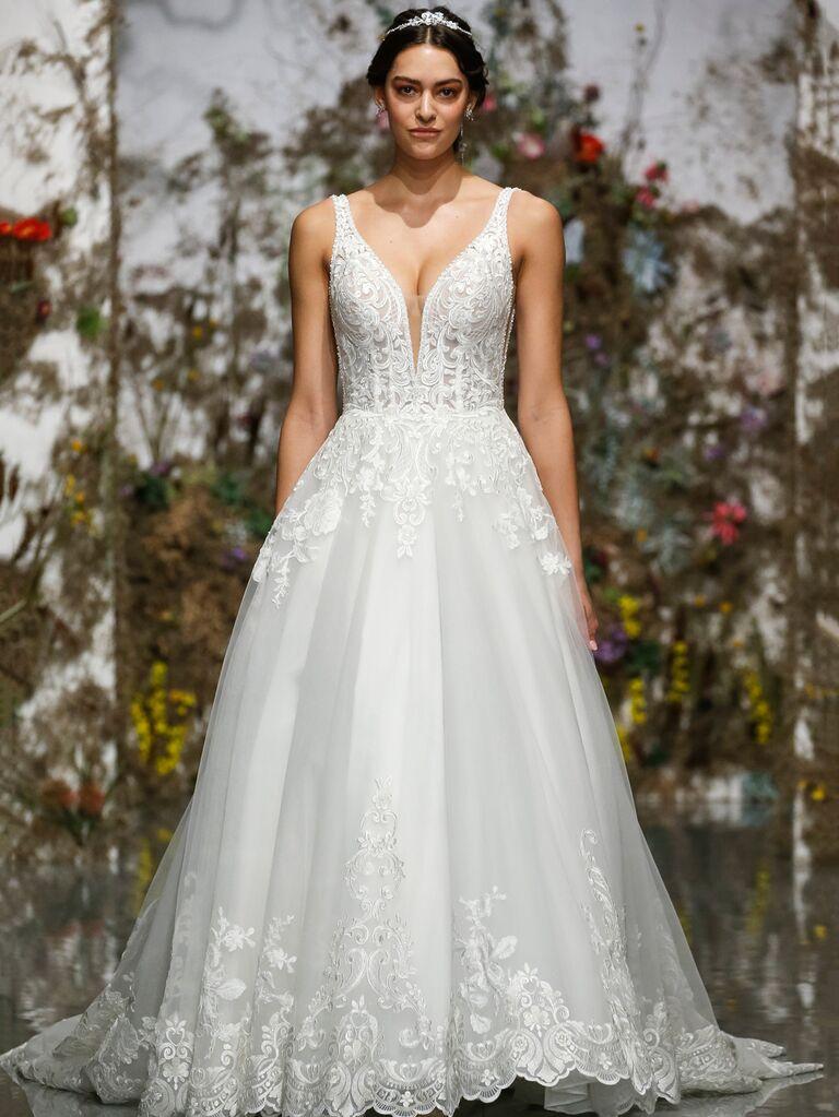 Morilee by Madeline Gardner Spring 2020 A-line wedding dress with plunging neckline