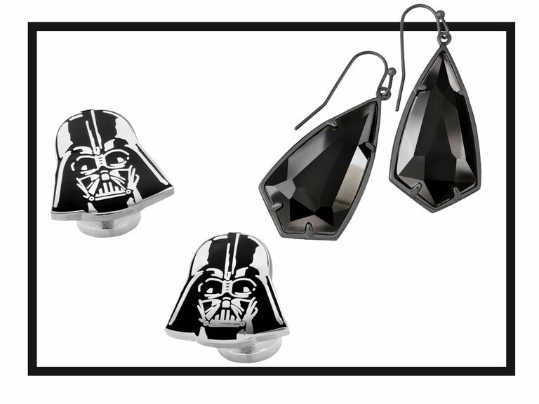 Black drop earrings and Darth Vader cuff links