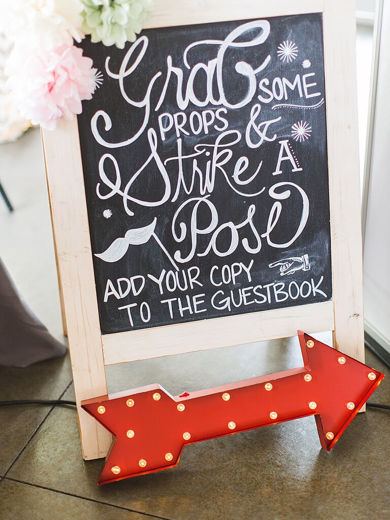Fun chalkboard wedding sign for a photo booth