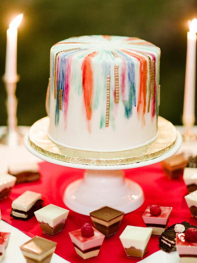 Single tier wedding cake simple colorful