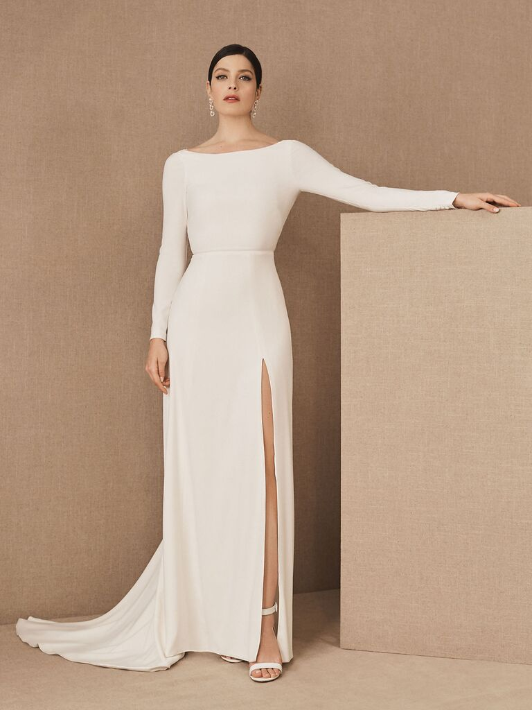 Long sleeve crepe wedding dress with high slit