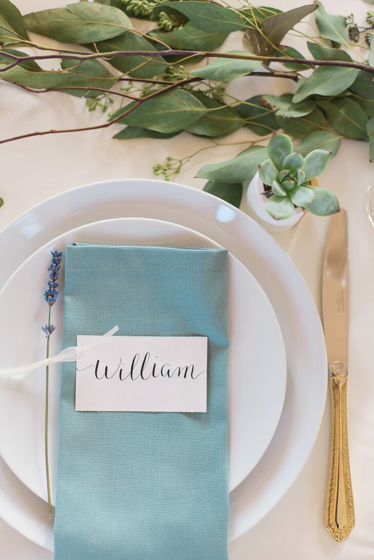 Place Setting with Teal Blue Napkins