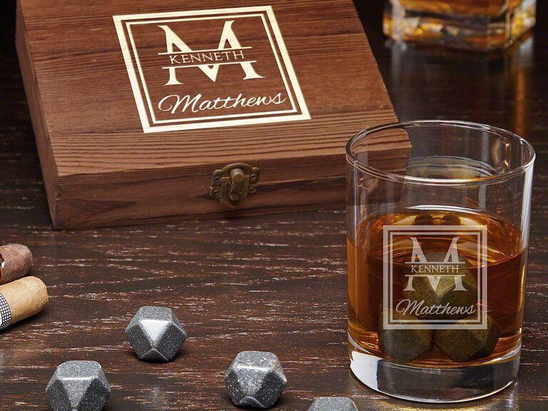 Personalized whiskey groomsmen gift box