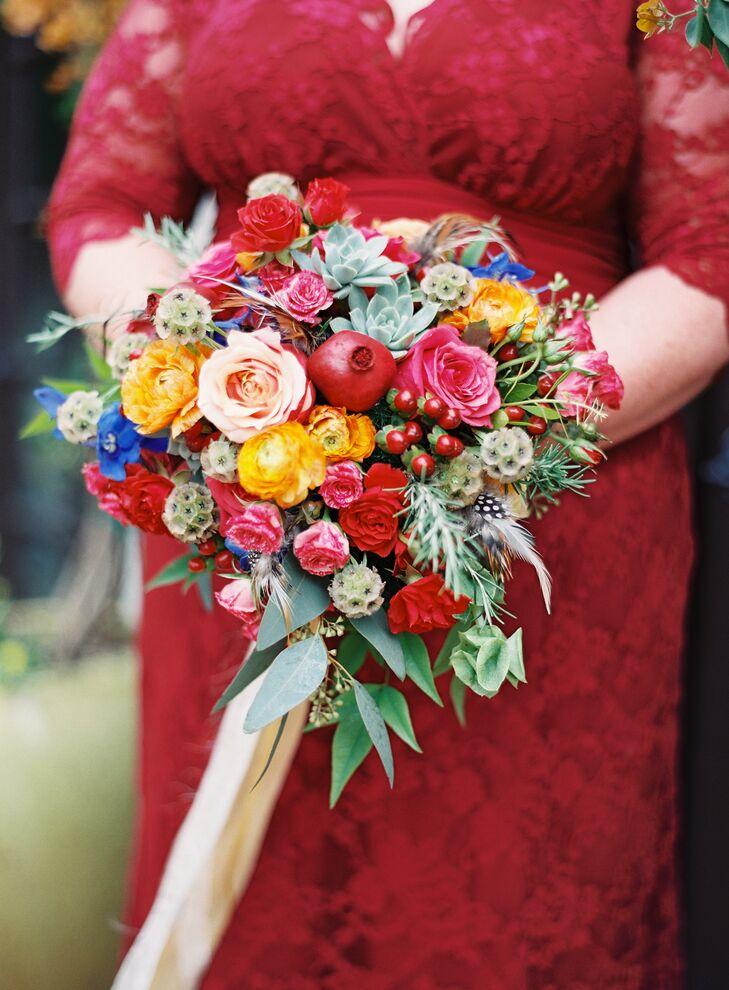 Vibrant Scabiosa Pod Accented Bouquet