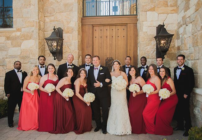 red bridesmaid dresses | Luxury Estate Weddings & Events | Blog.theknot.com