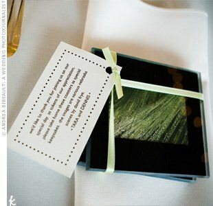Tara created coasters by encasing photographs of the Nebraska countryside, taken by her stepfather, in glass squares. She bundled sets of four with yellow ribbon and a personalized note.
