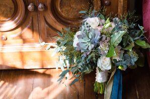Wildflower Bouquet With Gold-Sprayed Eucalyptus