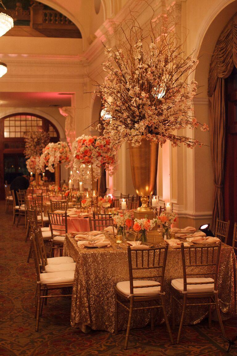 Tall glamorous wedding reception centerpieces