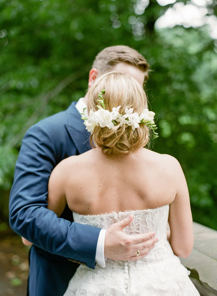 Romantic Updo with Fresh Freesia Flowers
