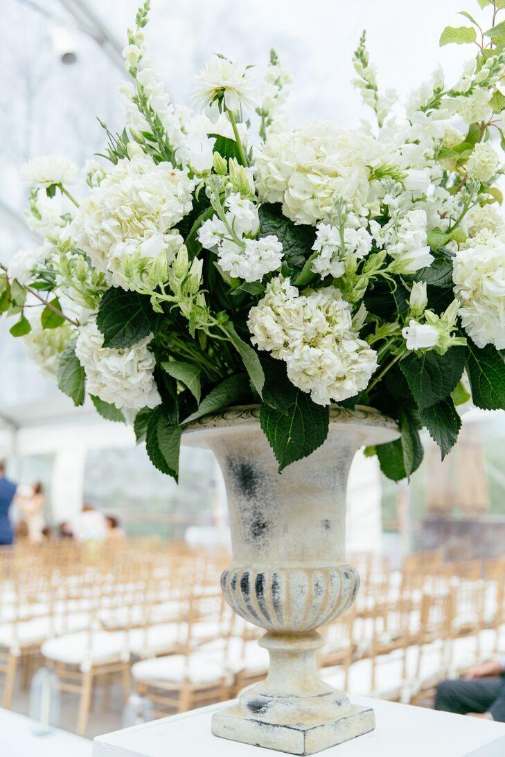 White Hydrangea and Delphinium Ceremony Accent