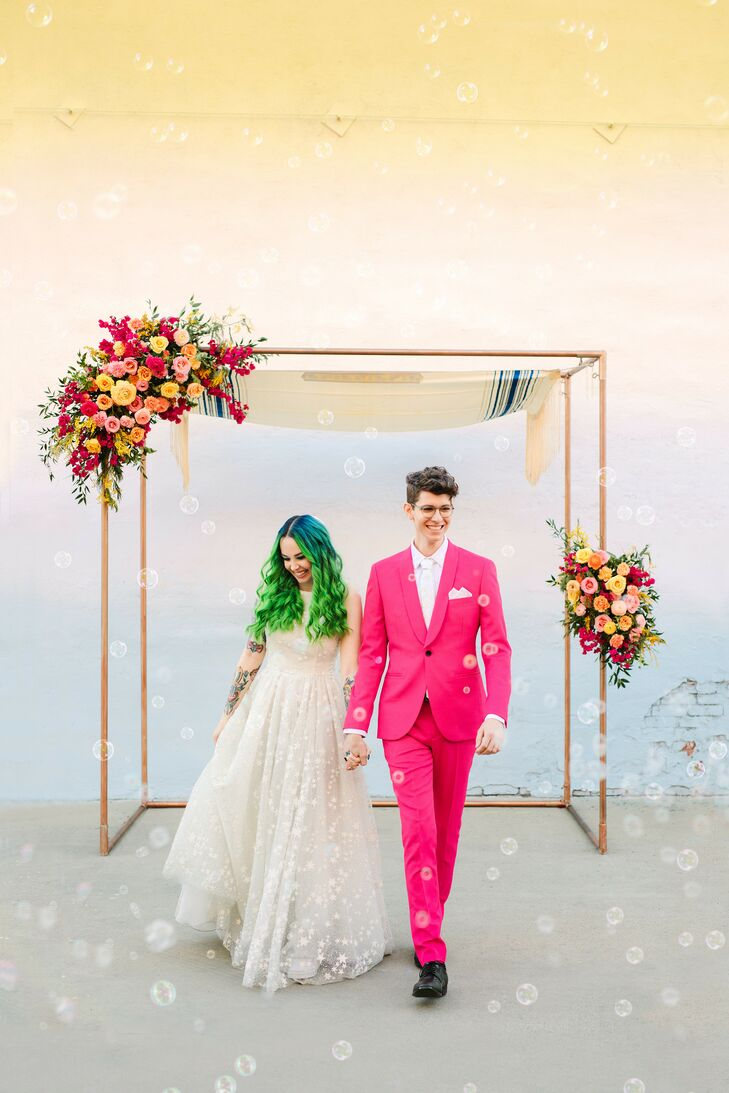 Couple Under Chuppah During Ceremony at the Unique Space in Los Angeles, California