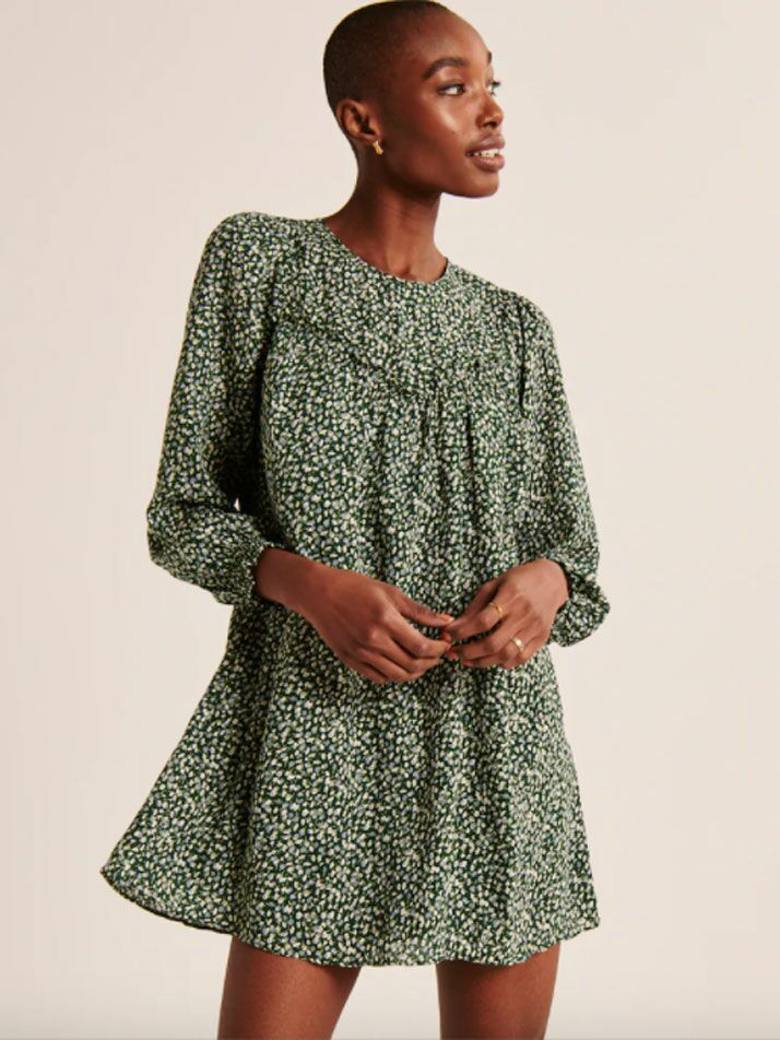 Green long sleeve cottagecore dress with ruffles on neckline