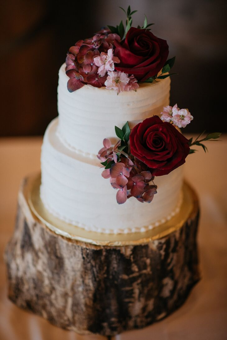 White Buttercream Cake with Roses and Hydrangeas