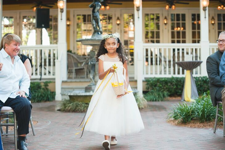 6b6f398d831 Kimberlee and Hegel s flower girl stood out from the wedding party in a  sweet A-