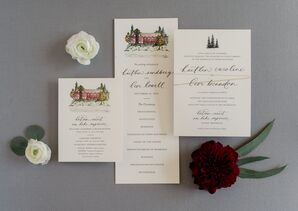 Rustic Invitation Suite with Watercolor Illustration and Calligraphy