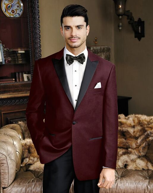 BLACKTIE LIAM Merlot Velvet Wedding Tuxedo Red Tuxedo