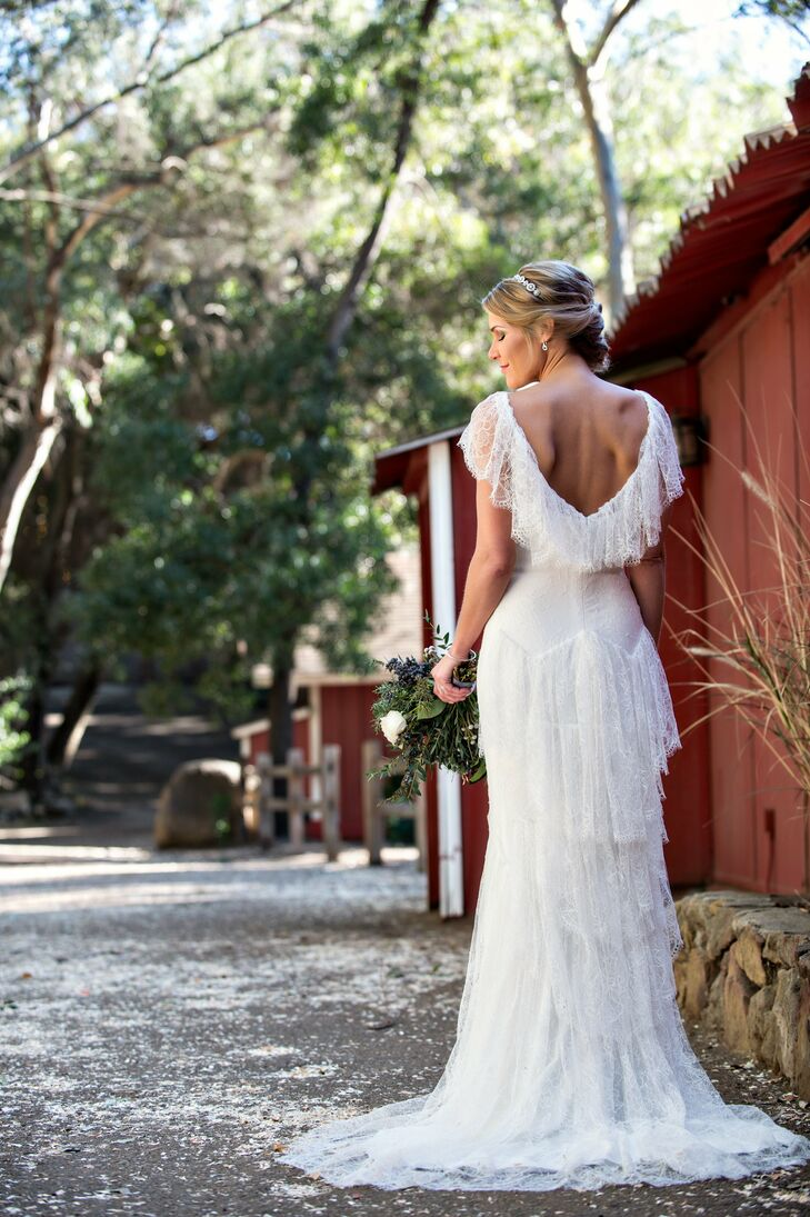 Katie's gown had a vintage, bohemian feel with layers of delicate lace.