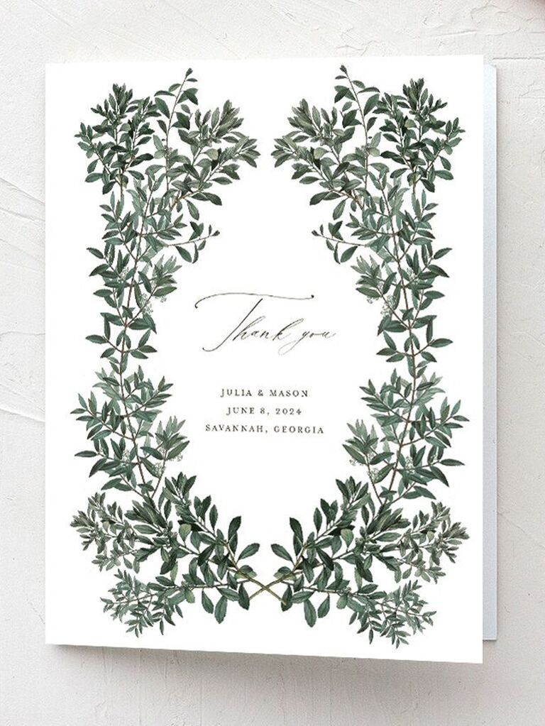 formal wedding thank-you card with greenery