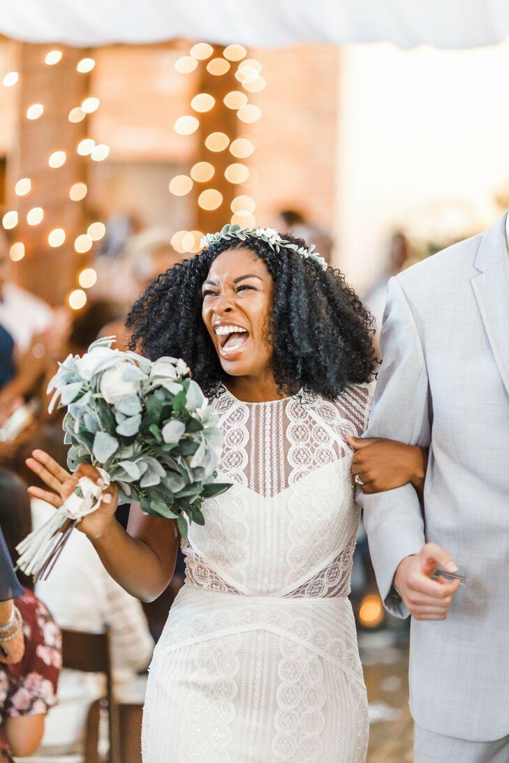 Bride Smiles During Recessional at Pennsylvania Wedding