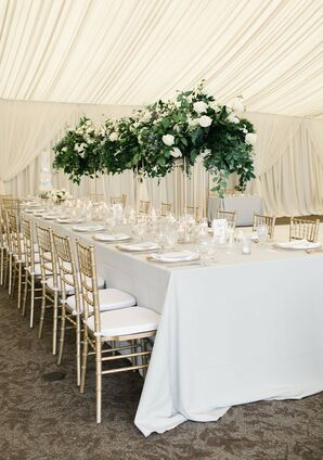Neutral Dining Table with Chiavari Chairs, Tall Greenery Centerpieces and Draping