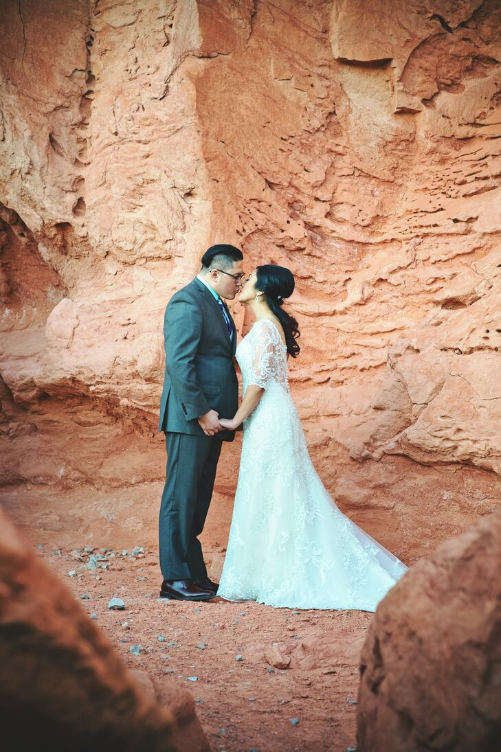 After a church ceremony in Las Vegas, the newlyweds and a few close family members and friends went to Valley of Fire State Park in Overton, Nevada, for cake and coffee.