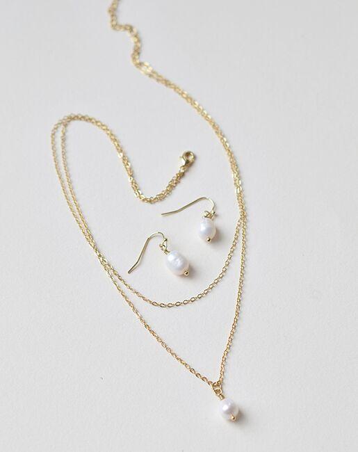 Dareth Colburn Layered Pearl Drop Bridesmaid Jewelry Set (JS-1708-BR) Wedding Necklaces photo